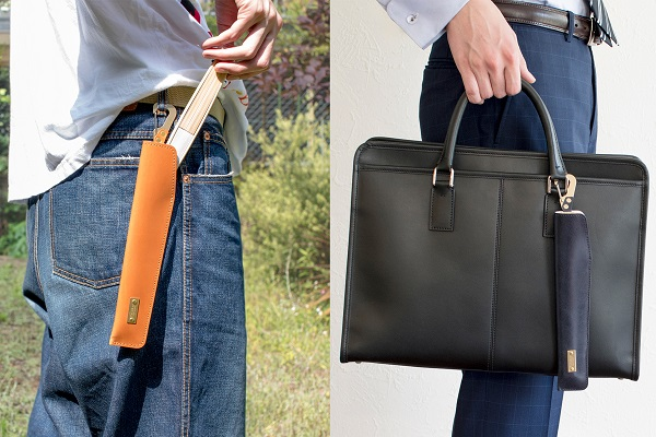 扇子をスマートに携帯できる「本革の扇子ケース」が登場!腰やカバンに付けて、サッと取り出して涼む