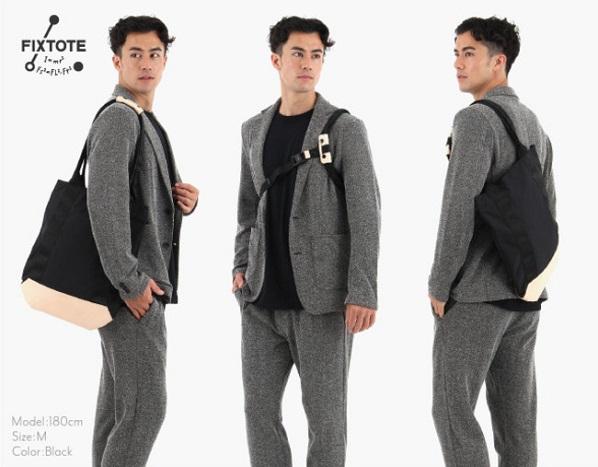 背中に固定できる新感覚のトートバッグ「FIXTOTE」改良モデルが登場!より装着しやすく使いやすい仕様に