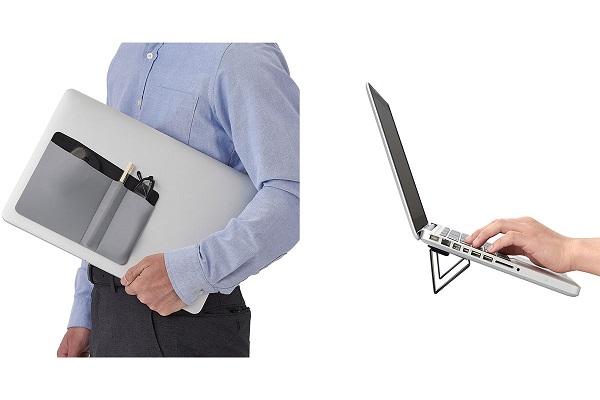 テレワーク環境を整え効率アップ!ノートPCに貼り付けて収納・持ち運べる「スタンド・ポケット」が登場