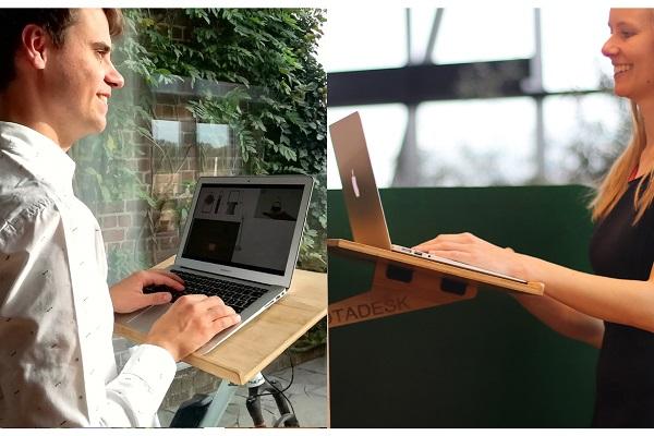 リモートワークの気分転換に!持ち運び簡単&立ち姿勢で仕事ができる「ベルギー発のパソコンデスク」が人気